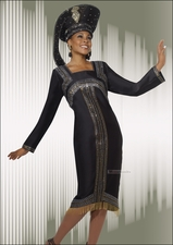 Metallic Novelty Special Occasion Dress from Donna Vinci in Black 11253