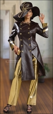 Military Influenced 2 Pc Faux Leather with Gold Pants by Donna Vinci 5409