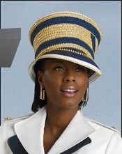 Military Inspired Womens Church Womans Church Hat White and Navy H2076