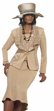 Mother Of The Bride Elegant Champagne Knit Suit by Donna Vinci 2962
