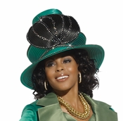 Mother Of The Bride First Lady Church Hat in Emerald Green and Black H2122