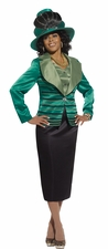 Mother Of The Bride Sophisticated Special Emerald and Black Suit 5431