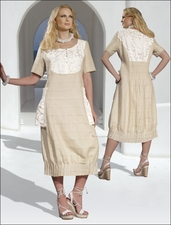Novelty Linen Ladies Dress in Beige and Ivory by Donna by Donna Vinci 14129