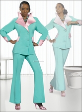 Paster Mint and Pink Top Quality Sunday Church Pant Suit by Donna Vinci 11207