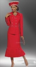Perfect Holiday Event Suit from Donna Vinci Red with Rhinestone Buttons 11241
