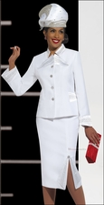 Pure White Elegant Ladies Special Occasion First Sunday Church Suit 11262