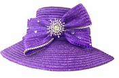Shiny Sparkling Ladies Special Occasion Hat in Purple H10017