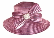Shiny Sparkling Ladies Special Occasion Hat in Rose Pink H10017