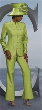 Silk Like Womens Special Occasion Lime Pant Suit from Donna Vinci 11182