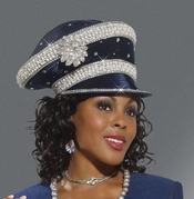 Sparkling Donna Vinci Navy Hat with Rhinestones for Special Occasions H1466