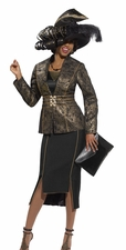 Special Event Holiday Shimmering Gold and Black Suit by Donna Vinci 5444