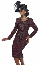 Special Occasion Fall Suit by Donna Vinci in Boucle Knit Multi Colored 15089