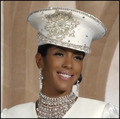 Special Occasion Ladies Designer Ivory Hat with Rhinestones H1366