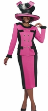 Special Occasion Ladies Fushia and Black Knit Suit by Donna Vinci 2940