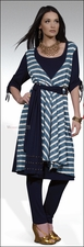 Stripe and Solid Knit Dress with Leggings from Love The Queen 17065