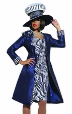 High Fashion Couture Dress and Coat in Navy and White by Donna Vinci 5432