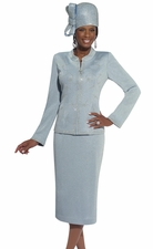 Winter-Sky Metallic Lurex Designer First Lady Suit by Donna Vinci 15090