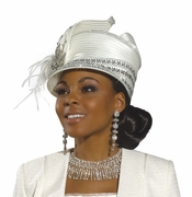 Stylish Ladies Rhinestone Trim Church Hat H1483