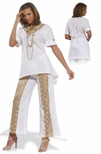 Stylish Summer Day White Linen Set from Donna 14181
