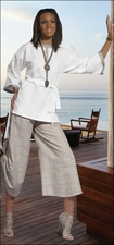 Summer Ladies Linen White and Natural Culotte Pant Set from Donna 14137