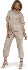 Summer Linen Novelty Natural Set from Donna by Donna Vinci 14177