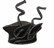 Unique and Lovely First Lady High Fashion Satin Black Hat with Sparkling Stones H10012