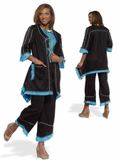 Unique Ladies Fashion Novelty Linen Set in Blue and Black 14189