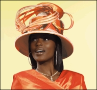 Woman Hat,Ladies Hats, Orange Designer Church Hat H1406