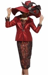 Women's Special Occasion Shantung Suit In Brick Color by Donna Vinci 5433