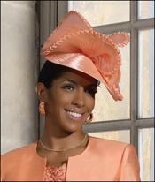 Women's Special Occasion Desginer Church Fascinator Peach Hat H2080