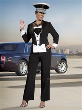 Women's Tuxedo Style Pant Suit by DVC Exclusive 15079