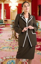 Women's Usher Suit, Business Career Suit, Plus Sizes (JS-103-brownivory)