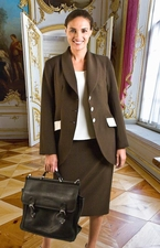 Women's Usher Suit, Choir Suit, Business Suit(JS-102A-brownivory)