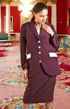 Women's Usher Suit, Choir Suit, Business Suit (JS-102A-plumivory)