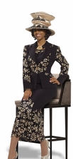 Womens Black and Gold Donna Vinci Designer Fashion Suit 5434