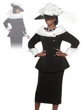Womens Black/White Fashion Church Suit by Donna Vinci 11251