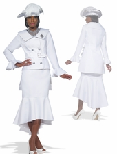 Womens Church Suit in Pure White by Donna Vinci 11292