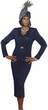 Exclusive Lurex Knitted Navy Special Church Suit by Donna Vinci 2952