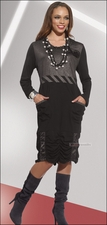 Womens Fashion Black Dress in Mixed Fabrics by Love The Queen 17108