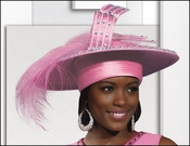 Womens First Lady Bubblegum Pink Hat with Feathers and Rhinestones H1423