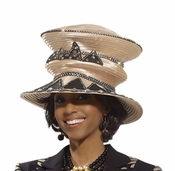 Womens Gold and Black Designer Hat by Donna Vinci H2131