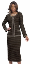 Womens Fashion Church Suit by Donna Vinci in Black and Gold Knit 15086