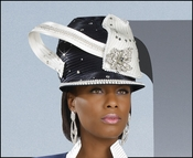 Womens High Fashion, Ladies Hat, Navy Church Hat by Donna Vinci H1432