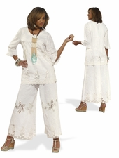 Womens Linen Fabric Elaborate Tunic Set With Lace Trims 14169
