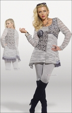 Womens Love The Queen Knit Tunic and Legging Set in Light Grey 17105