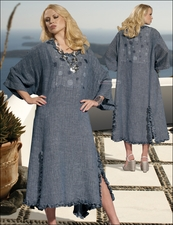 Womens Novelty Linen Dress with Ruffles in Blue from Donna 14138