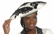 Womens Red Satin and Rhinestone Hat by Donna Vinci H2158