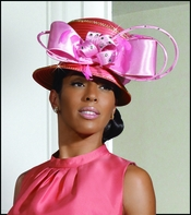 Womens Satin Special Occasion Coral and Pink Hat H2084