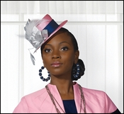 Womens Special Occasion Pink and Navy Fascinator Hat H2072