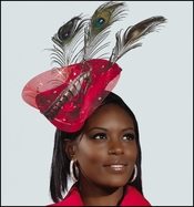 Womens Special Occasion Red Fascinator Hat H1434